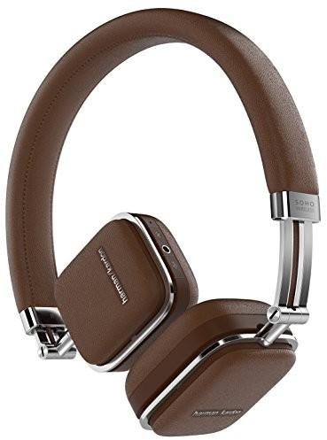 Harman-Kardon Harman Kardon Soho Extra płaskie składany on-ear Przeno?ny Mini słuchawki z wysokiej jako?ci skóry i powierzchnia ze stali nierdzewnej br?zowy HKSOHOBTBR